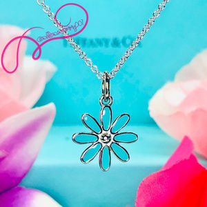 "NWOT Tiffany & Co. Blue Daisy Flower Pendant, 18"""